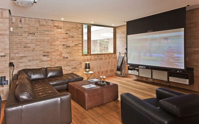 Theater Room Design With Cozy Leather Sofa