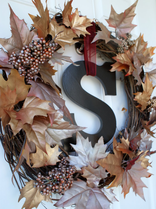 Traditional Entry With Fall Contemporary Door Wreaths And S Letter And White Pocket Door For Country House Decor