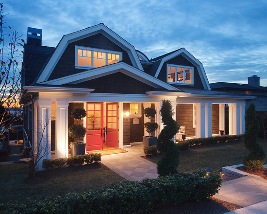Traditional Exterior With Red And Glass Double Front Doors For Homes And Pathway Also Green Landscape