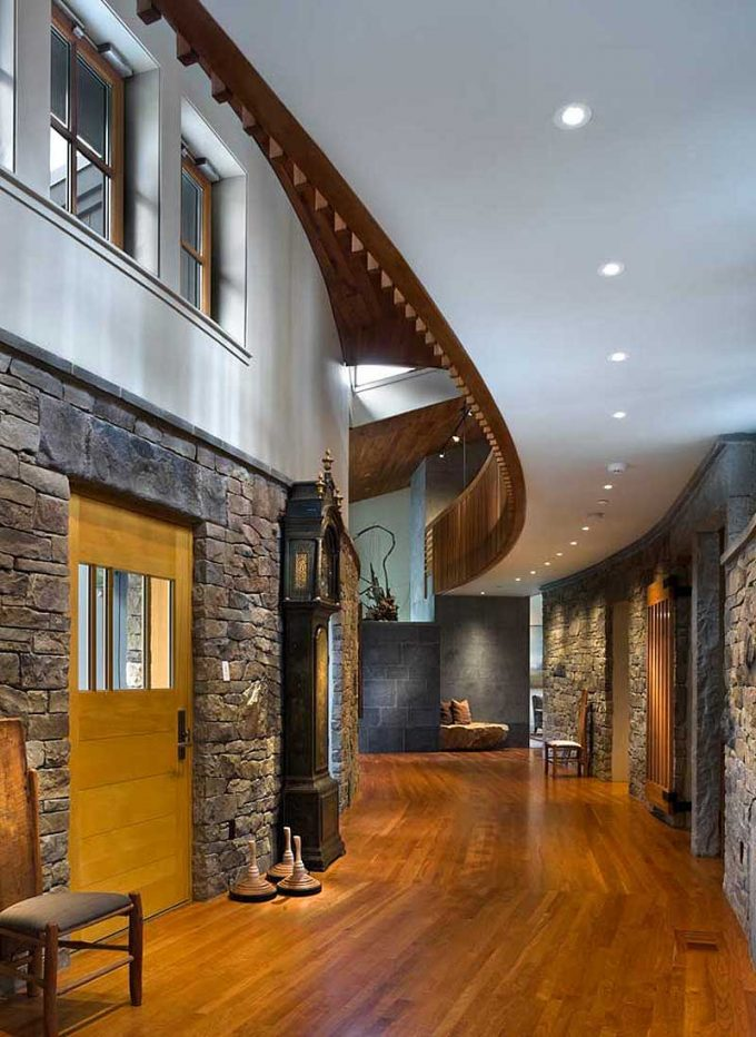 Traditional House Interior With Hard Wood Floor And Stone Wall Decor