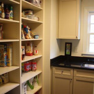 Traditional Laundry Room With Pantry Shelving Designs And Black Stone Slate Counters