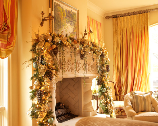 Traditional Living Room With Pictures Of Mantels Decorated For Christmas In Yellow And Golden Theme Wreath