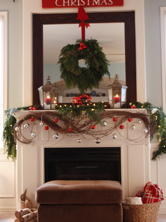 Transitional Living Room With Pictures Of Mantels Decorated For Christmas With Garland And Wreath