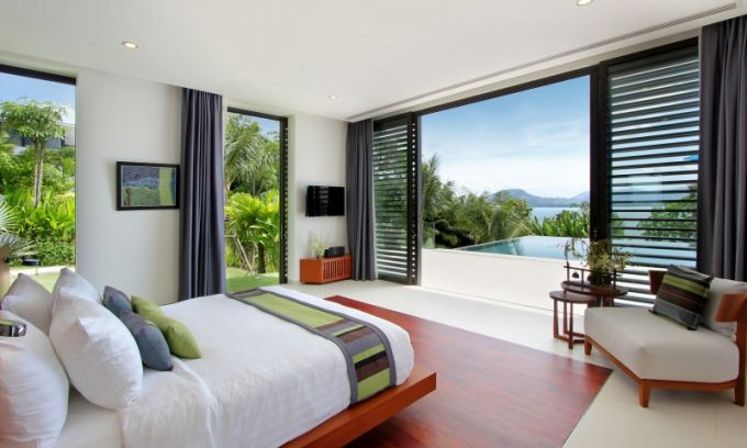 Tropical Bedroom With Folding Glass Door And Floating Beds And Beautiful Phuket Beach Scenery
