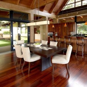 Tropical Kitchen Design Using Hard Wood Flooring And Kitchenbar Also Cathedral Ceiling