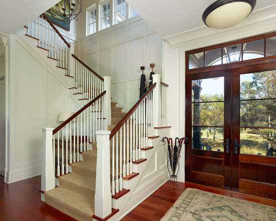 Two Story House Design Using Double Front Doors For Homes With Hardwood Floor Also Carpet
