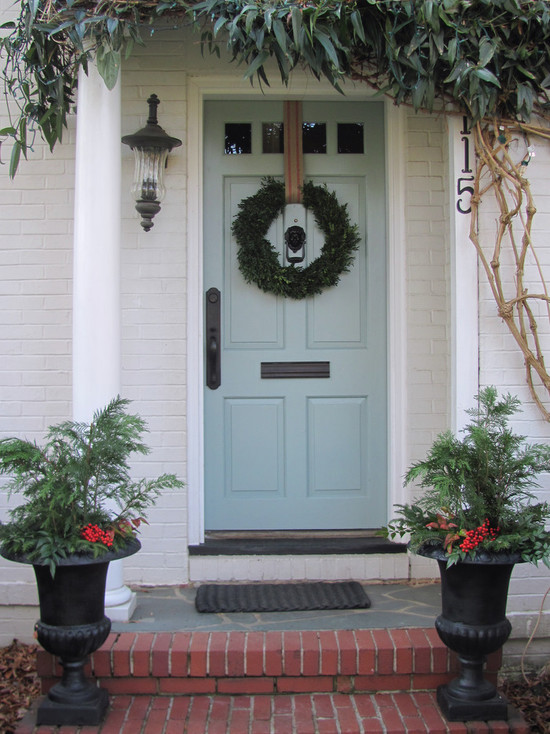 Vintage House Design With Painted Bricks Wall And Brick Floor And Christmas Contemporary Door Wreaths