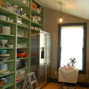 Vintage Kitchen Design With Wall Pantry Shelving Designs Large Glass Window And Wooden Flooring