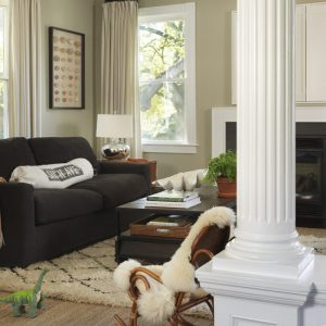 Warm Living Room With Furry Area Rugs Dark Sofa And Fireplace Also Windows With Drapes