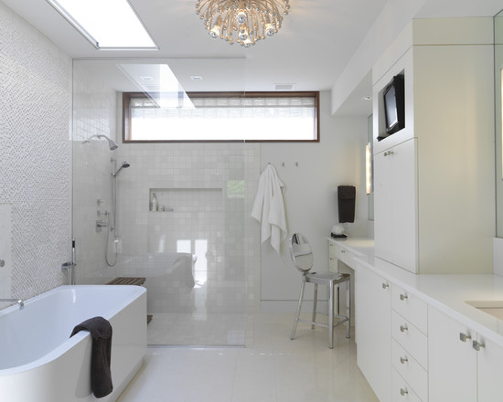 White Bathroom Theme Using Decorative Wall Glass Showers White Vanity Also White Tile For Inexpensive Bathroom Remodeling Ideas