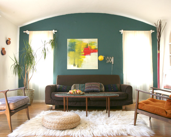 Inspiring Furry Area Rugs Interior: Whitefurry Area Rugs And Brown Sofa  Also Grey Wall For