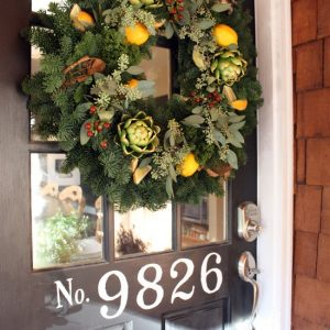 Wood Door Entry With Lemons Contemporary Door Wreaths With House Numbers For Rustic Home Design
