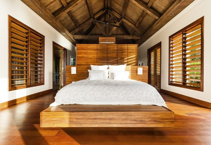 Wooden Bedroom For Tropical Accent And Floating Bed Platform Design