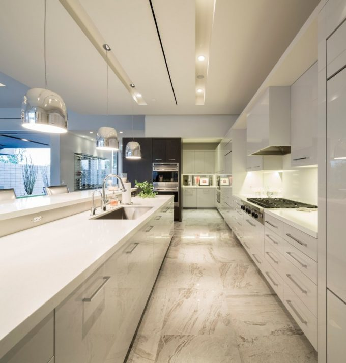 Beautiful White Luscious Kitchen Design With White Cabinets And Kitchen Islands