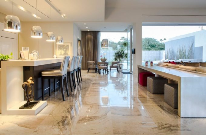 Classy Kitchen Design With White Kitchen Island And White Stool Also White Buffet Table Plus White Marble Floor