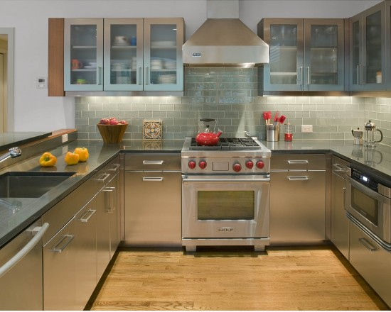 Contemporary Kitchen Design With Discount Glass Tile Kitchen Backsplash And Hanging Cabinets And Stainless Steel Kitchen Countertops