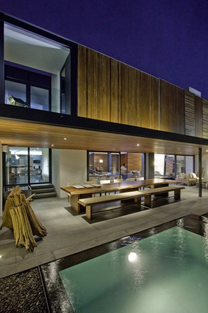 Cozy Terrace Design With Outdoor Dining Furniture Plus Recessed Ceiling Lighting And Cool Pool View