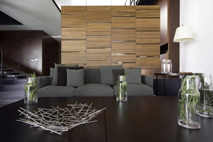 Elegant Living Room With Cozy Grey Sofa With Cushion And Black Coffee Table Plus Wood Panel Partitions