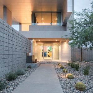 Luxury Home Design With Beautiful Exterior Design Using Clean Line And Smooth Concrete Pathway