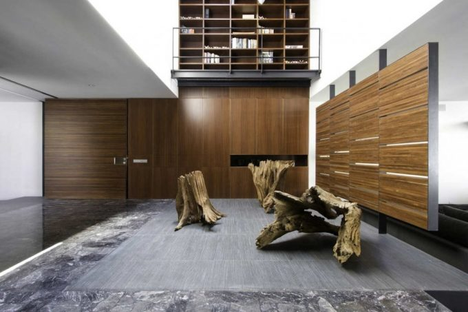 Natural Interior Accent With Wood Trunk For Interior Accessories And Cabinet With Laminated Wood Decor