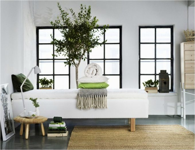Natural Interior For Scandinavian Interior Decor And White Bed Also Wooden Floor Plus Indoor Plant Decor