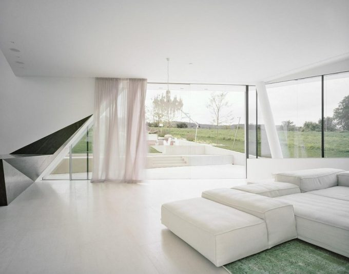 Open Living Room Design With White Curtain And White Floor For Bright Interior And Clean Accent