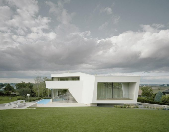 Side Facade Of Villa Freundorf And Green Environtment For Luxury House Design