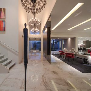 Sophisticated Halway With Chandeliers Lighting For Luxury Home Design