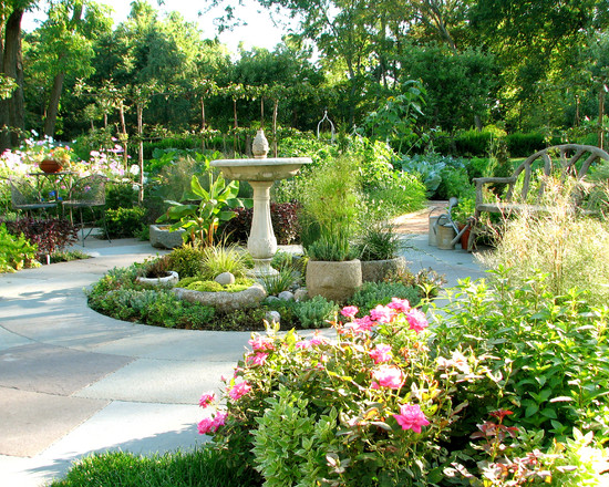 Stunning Landscape With Walkway And Bench Plus Green Flowers And Designer Bird Baths