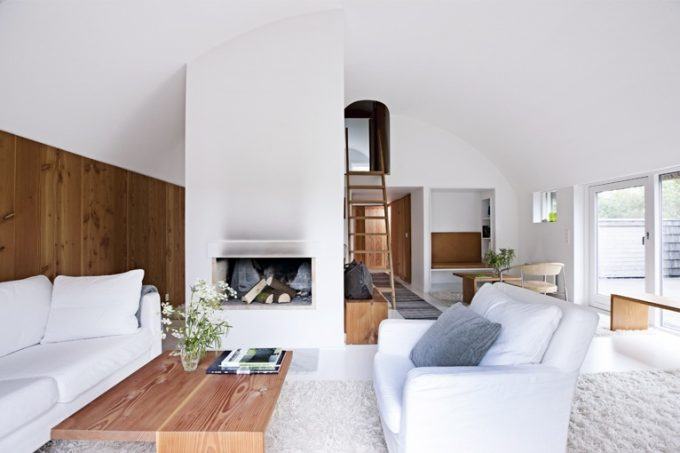 The Scandinavian Design Use Wood And White Color In Wall And Ceiling Plus White Sofa