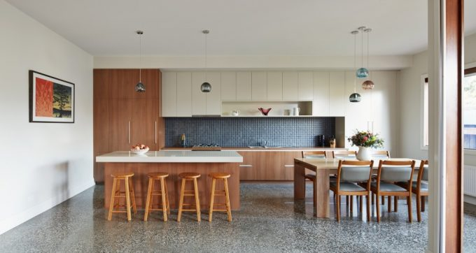 White Countertop Kitchen Island And Neat Uncluttered Kitchen Also Wooden Eat In Kitchen Furniture