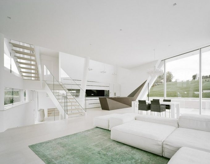 White Staircase With Glass Handrail Also Glass Windows Surrounding