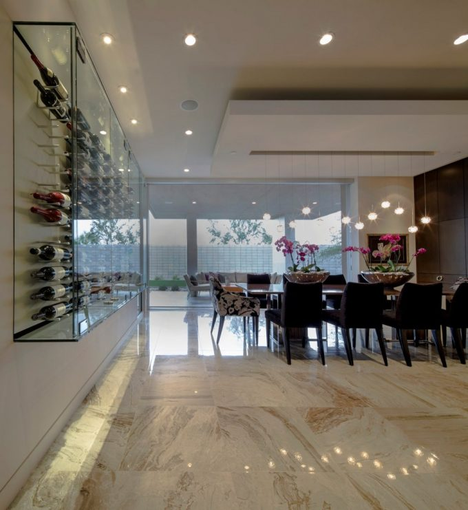 Wine Wall Showcase Bright Living Space Birds Nest Residence And Marble Floor Also Down Lighting
