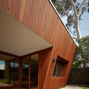 Wooden Exterior And Wooden Deck Patio With Sharp Architecture Plus Open Landscape