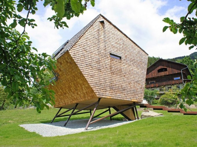 Irregular Shaped Holiday House Idea Of Ufogel House Surroung With Meadow Also Stunning Mountain View