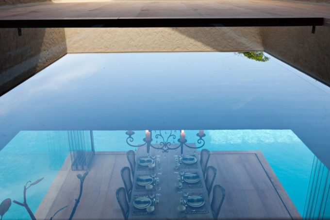 View Dining Room From Upper Stair Modern Dining Room With Pool Surround And Green Landscape View