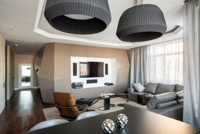 Apartment With Geometric Interior Design Using Textured Wall And Black Drum Pendants Lamp