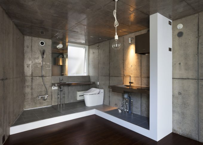Awesome Bathroom With Dark Wood Floor And Concrete Wall Panel For Contemporary Accent
