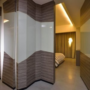 Awesome Door Design With Illuminate Door Design Using The Same Wall Pattern Design