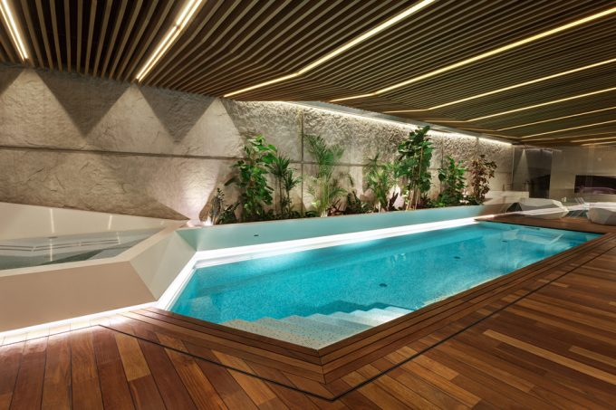 Awesome Pool Lighting And Swimming Pool Also Wooden Deck Swimming Pool