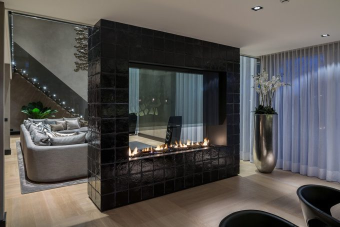 Awesome Ventless Gas Fireplace With Black Box For Room Divider For Modern Home Design Ideas