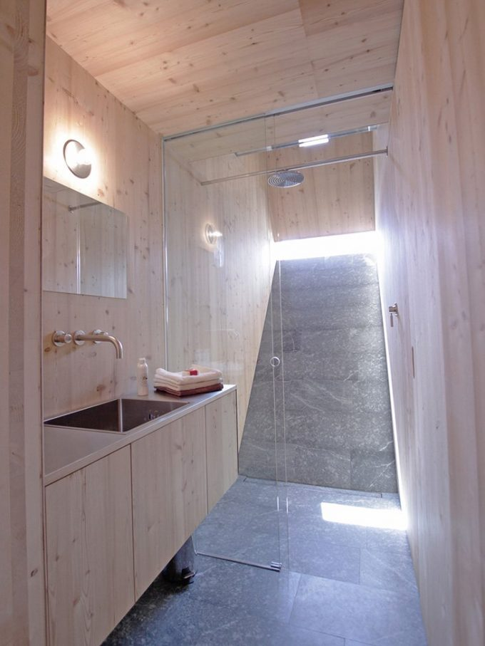 Beautiful Bathroom With Glass Door And Stainless Steel Sink Also Wood Vanity In Holiday House Of Ufogel