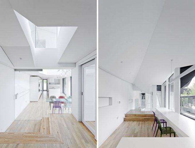 Beautiful Corridors With White Wall And Wood Palette Floor Also Transparent Glass Door