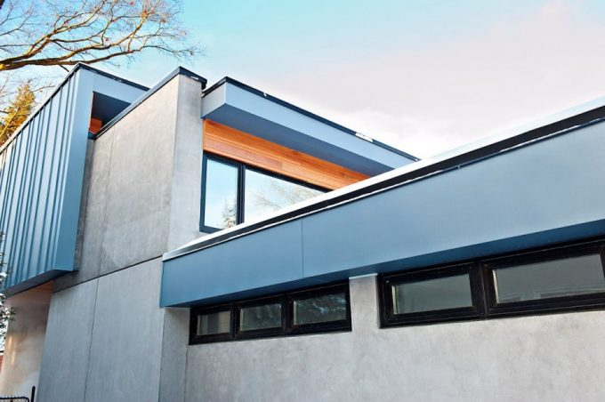 Beautiful Details Structure With Grey Panel Exterior And Concrete Exterior Plus Small Windows