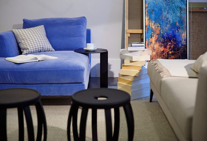 Beautiful Grey Carpet Floor And Modern Blue Couch For Modern Living Room