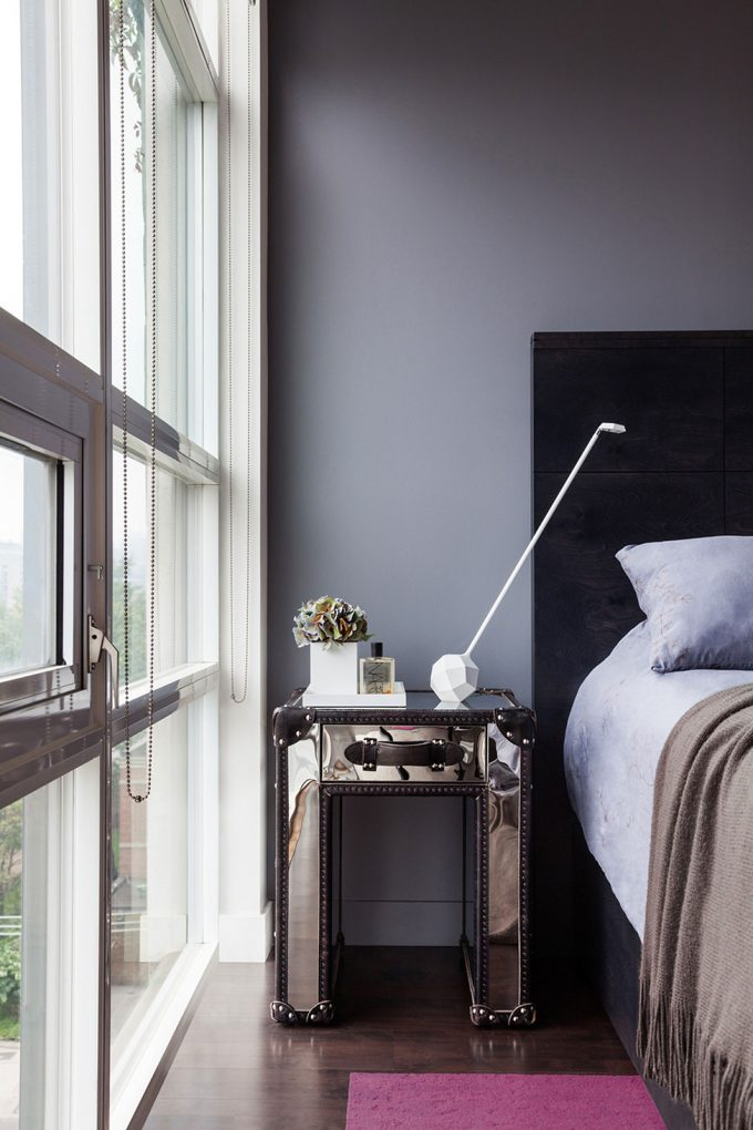 Beautiful Mirror Side Bed With White Night Stands And Black Headboards Bed In Industrial Apartment Bedroom Design