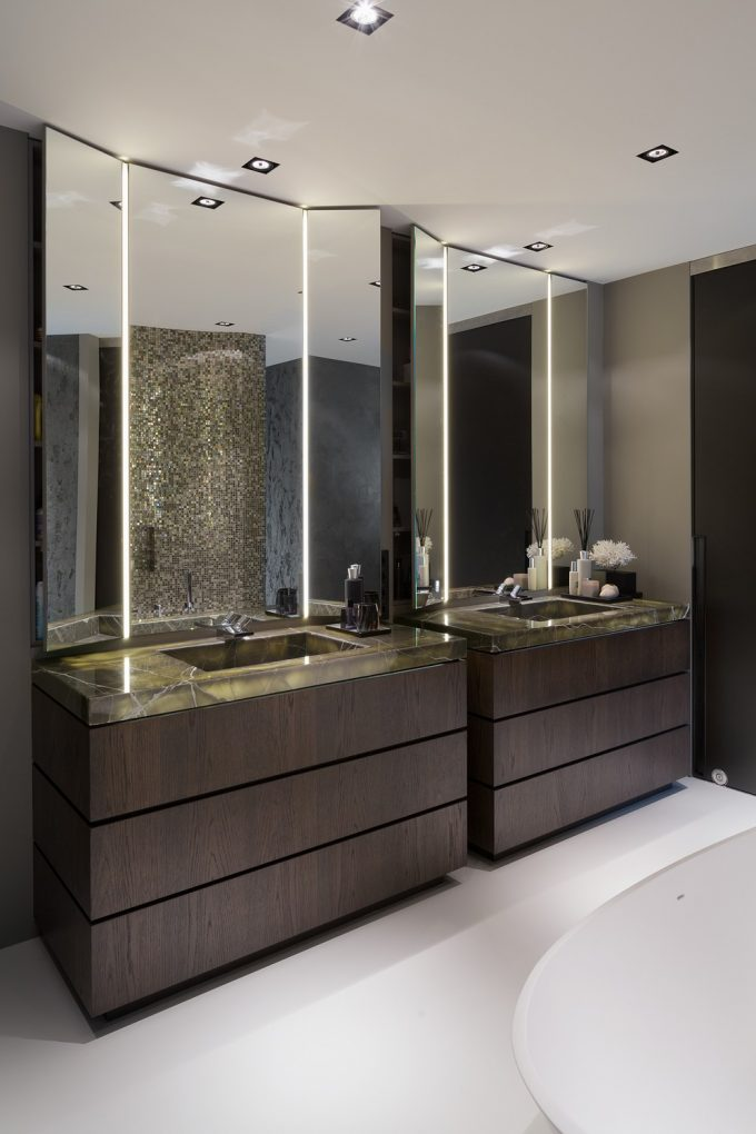 Beautiful Powder Room With Three Ways Mirror And Dark Vanity Aslo White Floor For Modern Bathroom Design