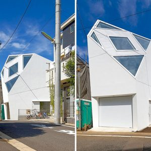 Beautiful Unique Tokyo House Design With Beautiful Custom Roof And Window Decor