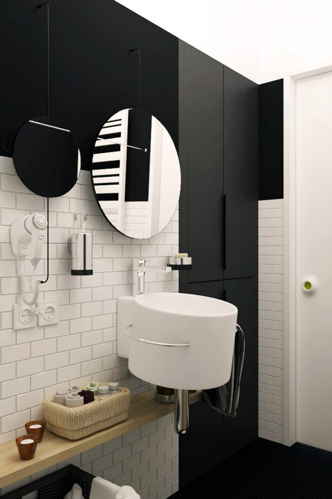 Black And White Bathroom With Hanging Sink Design And Round Mirror Design