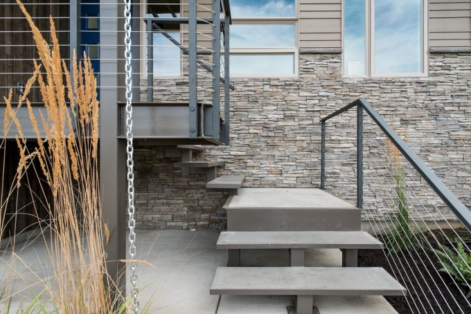 Concrete Stairs With Stell Structure And Steel Handrail
